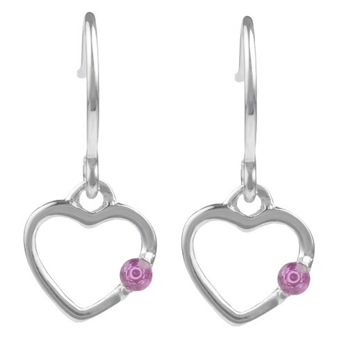1/10 CT. T.W. Round-cut CZ Heart Dangle Pave Set Earrings in Sterling Silver - Fuchsia - image 1 of 2