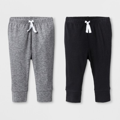Baby Boys' 2pk Jogger Pants - Cat & Jack™ Gray/Black <br>0-3M