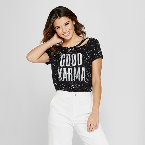 Women's Short Sleeve Good Karma Splatter Print Clavicle Cut-Out Graphic T-Shirt - Grayson Threads (Juniors') Black - image 1 of 2