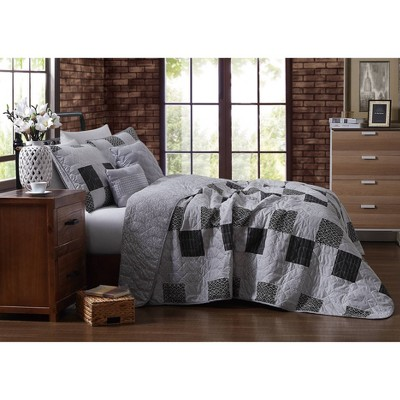 Geneva Home Fashions King 5pc Avondale Manor Evangeline Quilt & Sham Set Gray