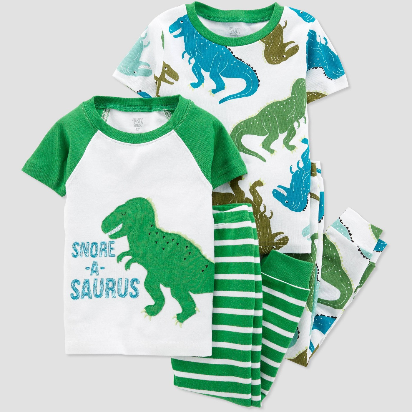 Toddler Boys' 4pc Dino Pajama Set - Just One You® made by carter's Green/White - image 1 of 1