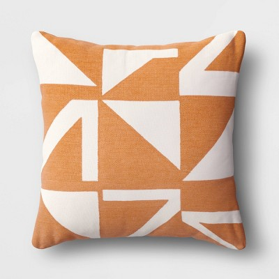Embroidered Geometric Square Throw Pillow Brown - Project 62™