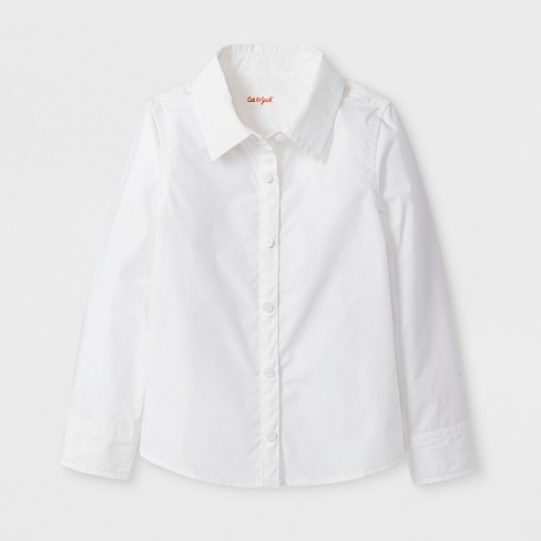 Toddler Girls' Adaptive Long Sleeve Button-Down Blouse - Cat & Jack™ White - image 1 of 1
