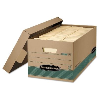 Bankers Box STOR/FILE Storage Box Legal Locking Lift-off Lid Kraft/Green 12/Carton 1270201