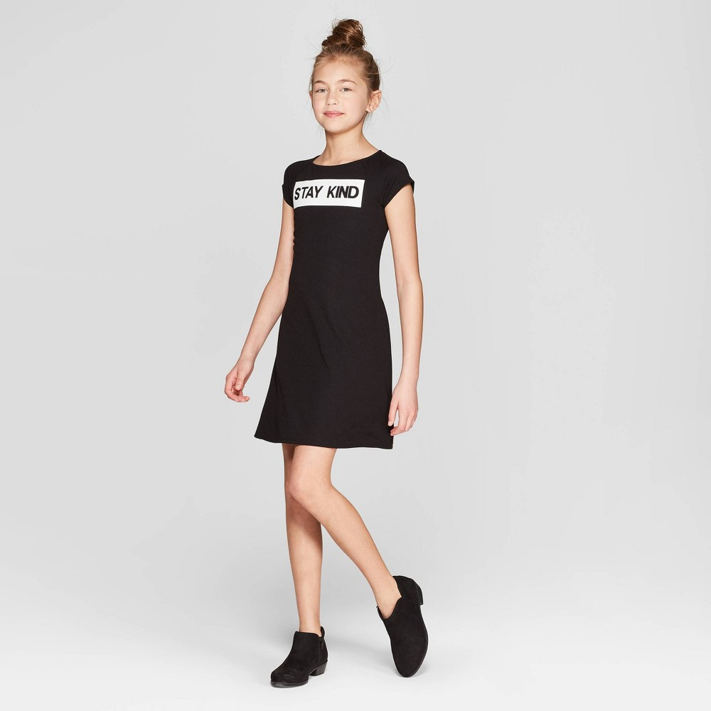 Girls' Short Sleeve Graphic Knit Dress - art class Black L