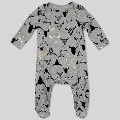 Afton Street Baby Boys' Long Sleeve Jumpsuit - Gray 6-9M