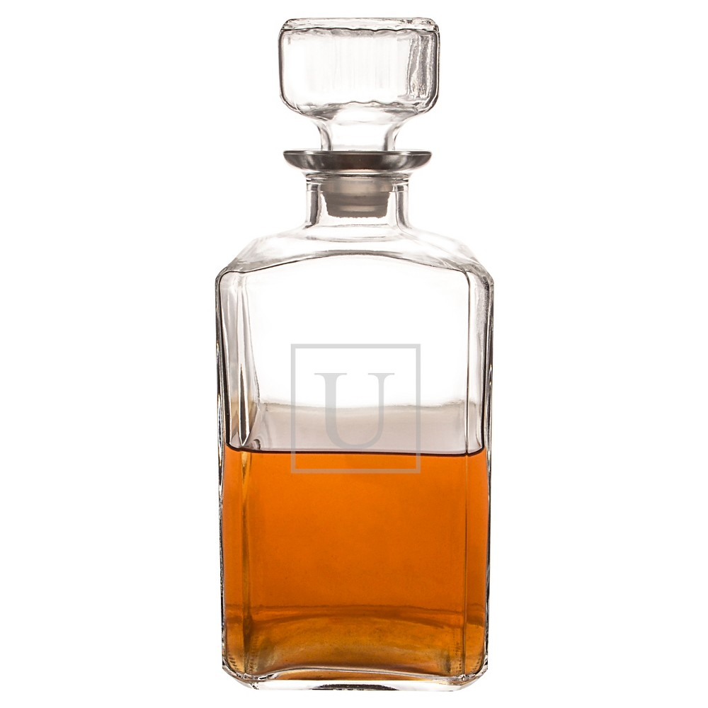 Personalized Glass Decanter - U, Clear