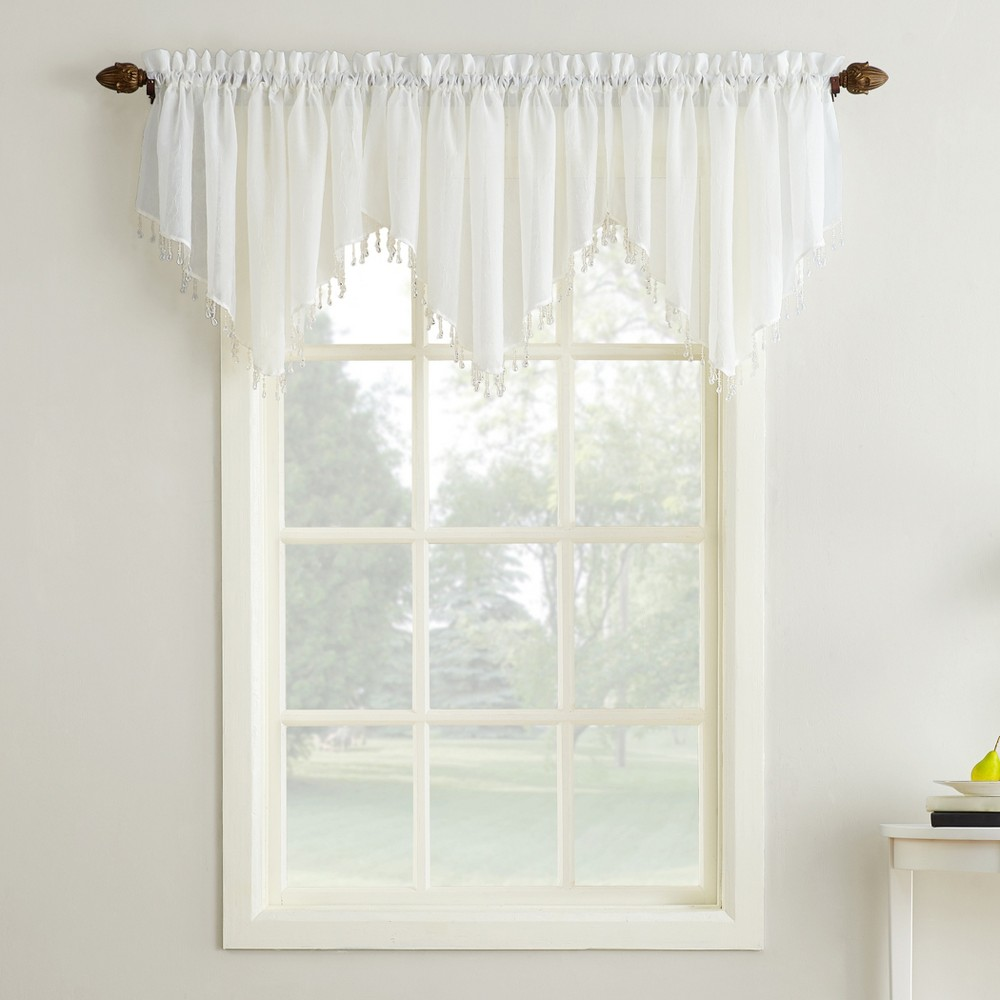 Erica Crushed Sheer Voile Beaded Ascot Curtain Valance Eggshell 51