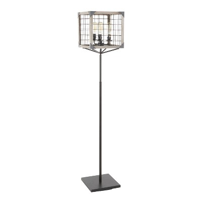 Orleans Industrial Floor Lamp with Metal and Wooden Wire Crate Shade Black (Includes LED Light Bulb) - LumiSource