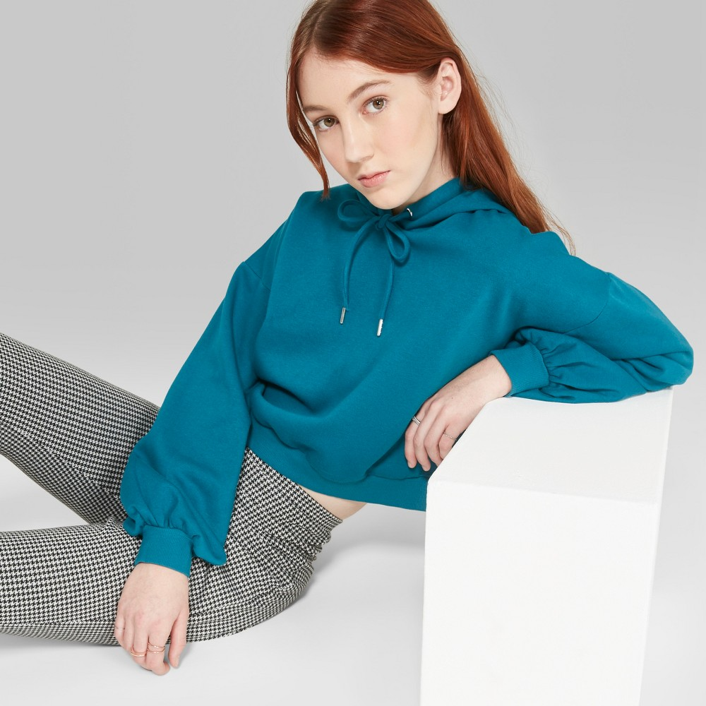 Women's Drop Shoulder Cropped Hoodie - Wild Fable Teal XL, Blue