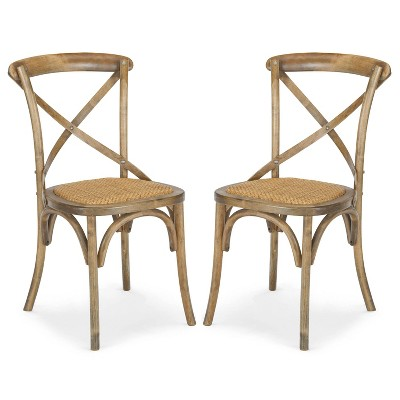 Set of 2 Donovan Mid-Century Crossback Chairs Spanish Brown - Poly & Bark