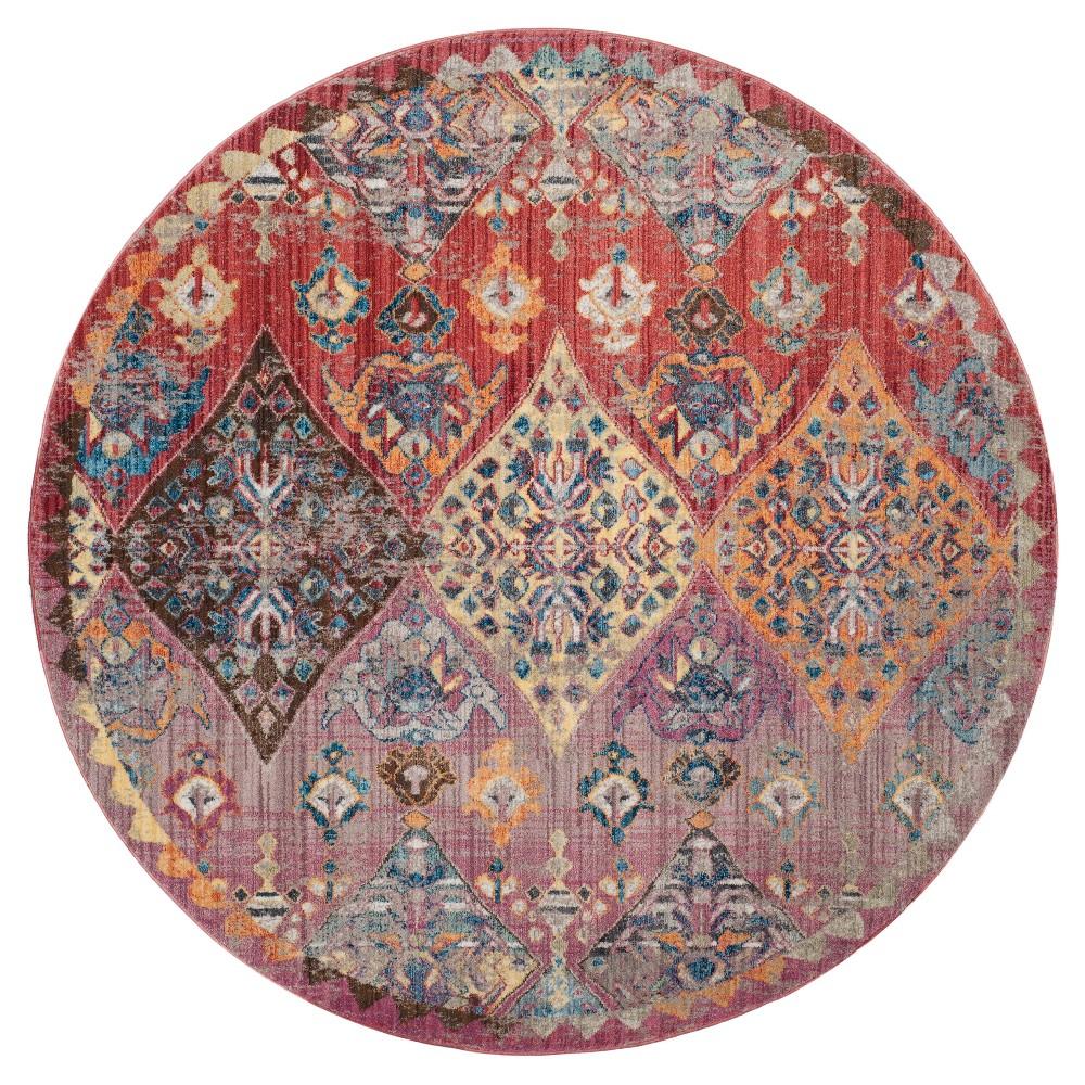 Medallion Loomed Round Area Rug 7' - Safavieh, Pink