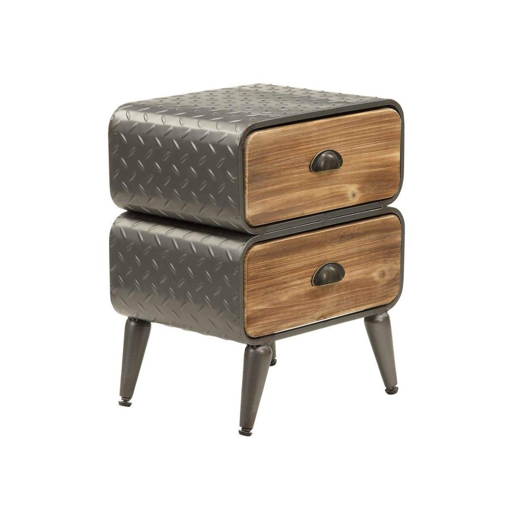 2 Drawer Metal Frame Accent Storage Chest With Splayed Legs Brown Gray Benzara