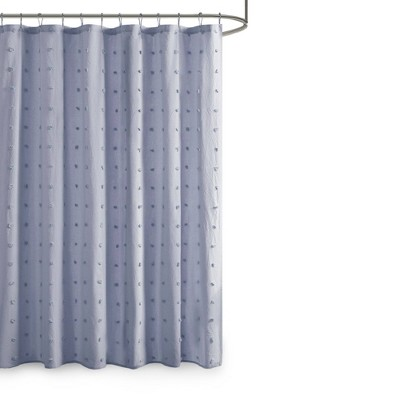 Kay Cotton Pom Pom Shower Curtain Blue