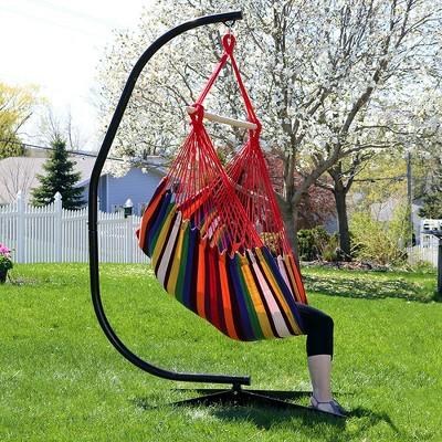 Jumbo Hanging Rope Hammock Chair Swing And C Stand   Sunset   Sunnydaze  Decor : Target