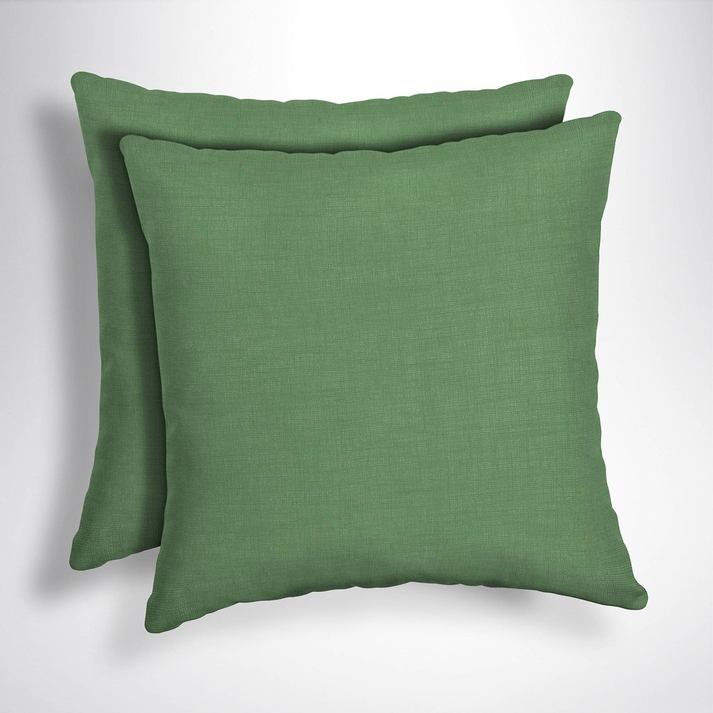 2pk Leala Texture Square Outdoor Throw Pillows Moss (Green) - Arden Selections