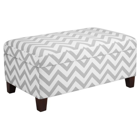 Chevron End of Bed Storage Ottoman - Gray-White - Dorel Living® - image 1 of 3