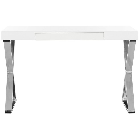 Paley Lacquer & Chrome Desk White - Safavieh - image 1 of 4