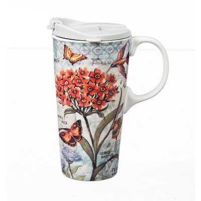 Evergreen Ceramic Travel Cup w/box, 17 OZ., Botanical Floral with butterflies