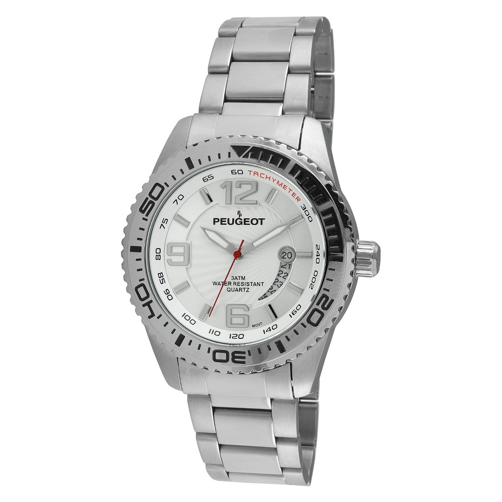 Men's Peugeot Stainless Steel Sport Bezel Watch - Silver This dress timepiece features an analog time display. Color: Silver. Gender: Male. Age Group: Adult.
