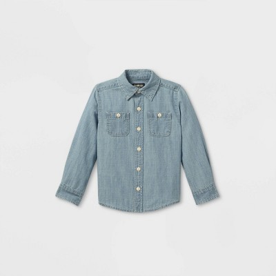 OshKosh B'gosh Toddler Boys' Chambray Woven Long Sleeve Button-Down Shirt - Blue