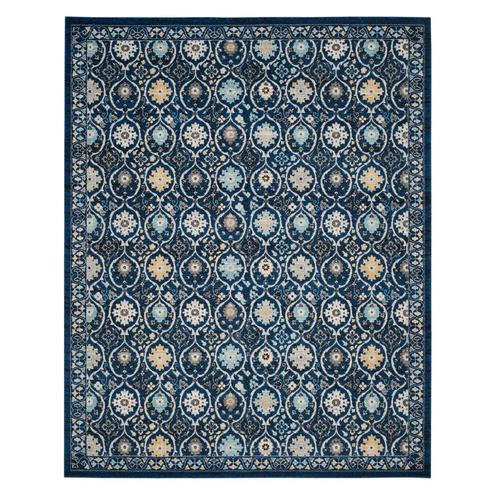Floral Loomed Area Rug Dark Blue/Ivory
