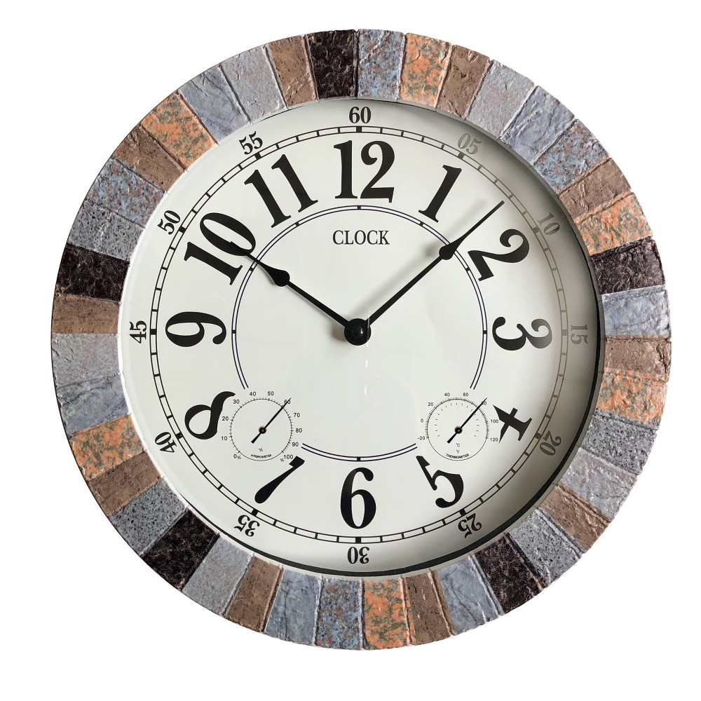 "Image of ""13.8""""H Weather Monitoring Indoor/Outdoor Decorative Stone Clock Brown - Backyard Expressions"""