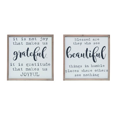 Transpac Wood 15 in. White Fall/Harvest Grateful/Beautiful Wall Decor Set of 2