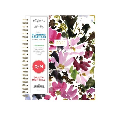 Hillside Gold-Tone Twin-Wire Binding 7 x 9 Hardcover Kelly Ventura for Blue Sky 2019-2020 Academic Year Daily /& Monthly Planner