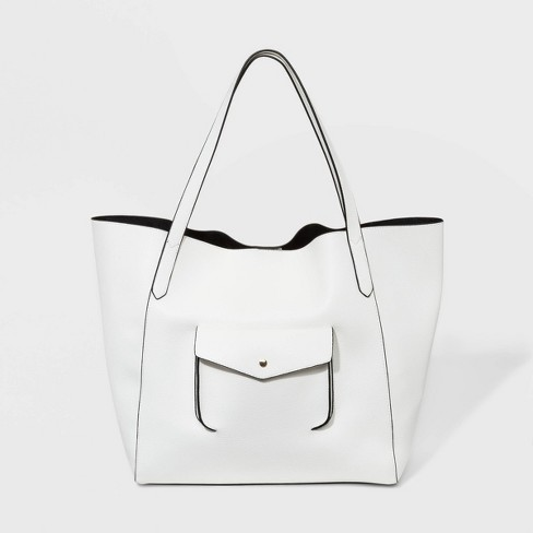 Soft Oversized Tote Handbag - A New Day™ White - image 1 of 4