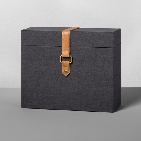 Document Box with Faux Leather Charcoal - Hearth & Hand™ with Magnolia - image 1 of 2