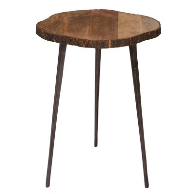 Rustic Mango Wood Slice Accent Table Brown - Olivia & May