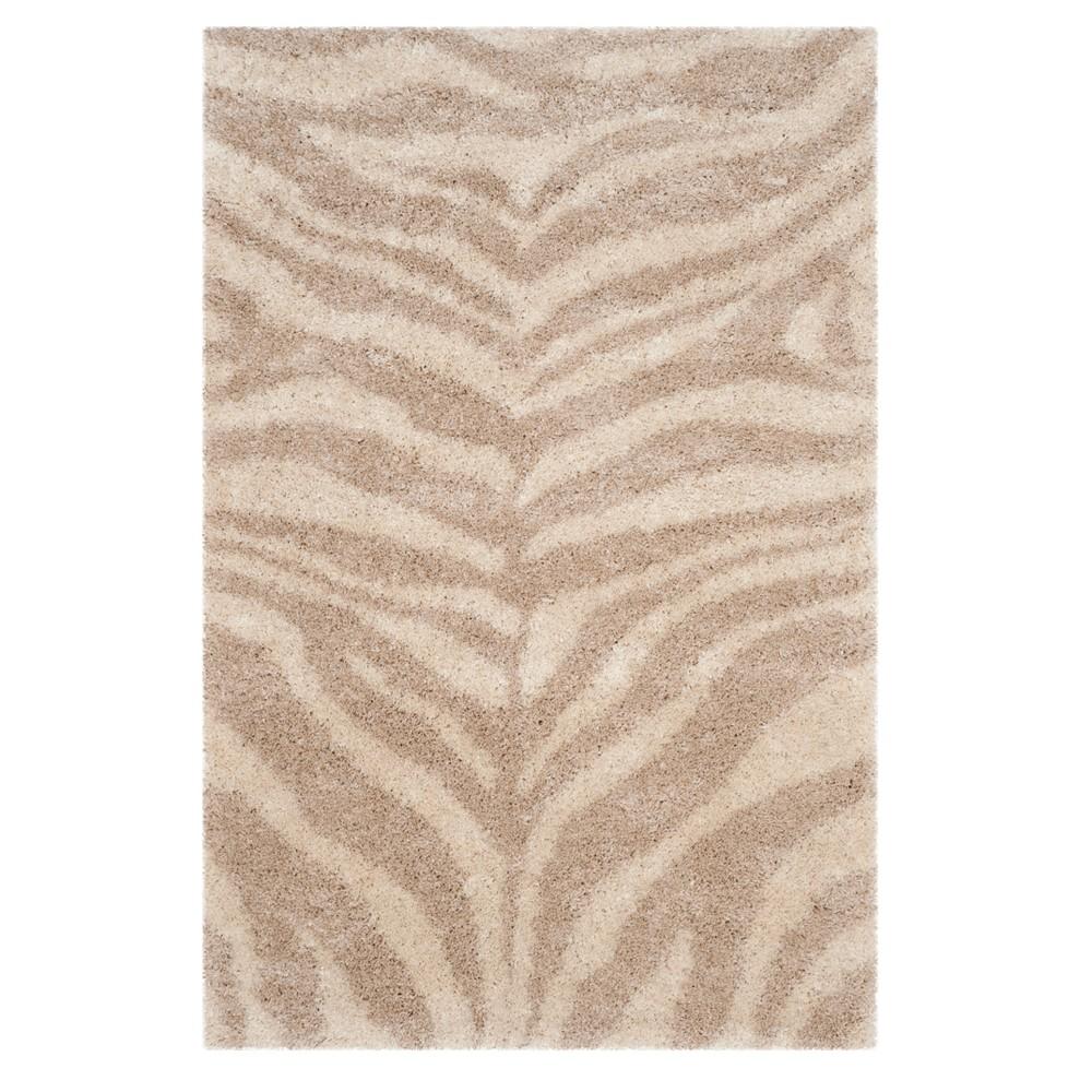 Ivory/Beige Zebra Stripe Loomed Accent Rug 4'X6' - Safavieh