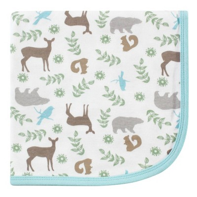Touched by Nature Unisex Baby Organic Cotton Swaddle Receiving and Multi-purpose Blanket - Forest One Size