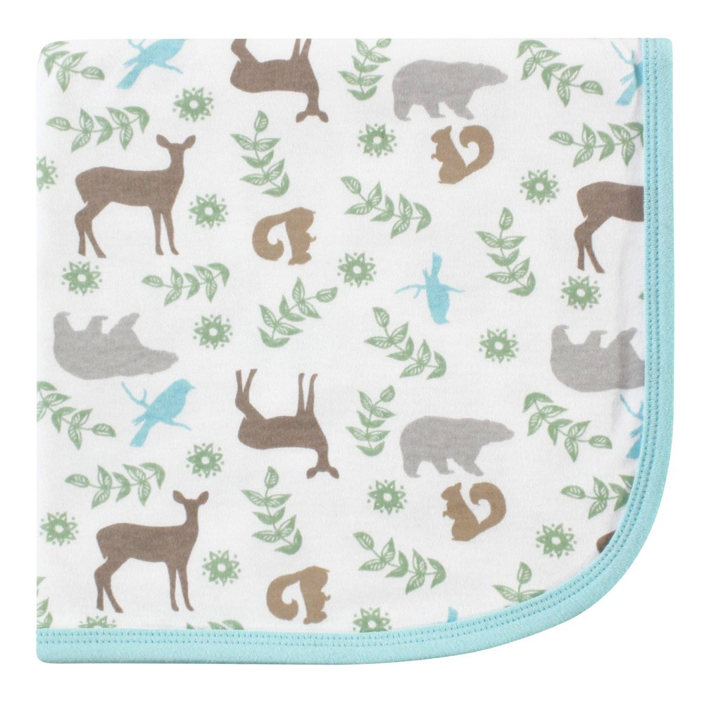 Touched By Nature Unisex Baby Organic Cotton Swaddle Receiving And Multi Purpose Blanket Forest One Size