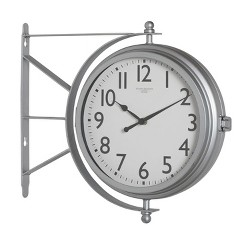 Studio Designs Metro Station 18 Inch Dual Face Clock and Thermometer, Silver