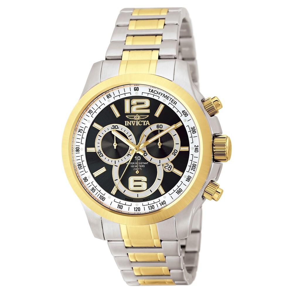 Men's Invicta 0080 Specialty Quartz Chronograph Black Dial Link Watch - Black