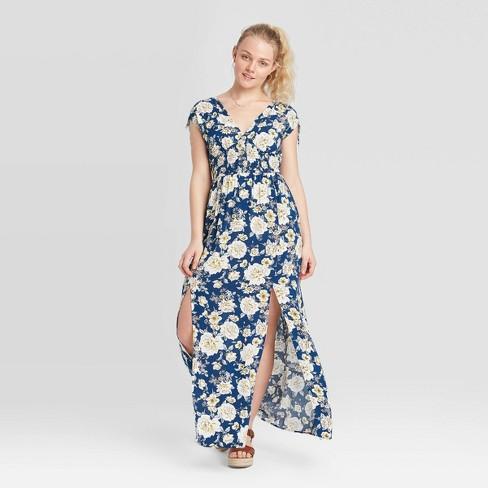 Women's Floral Print Short Sleeve Smocked Waist Button-Front Dress - Xhilaration™ - image 1 of 2