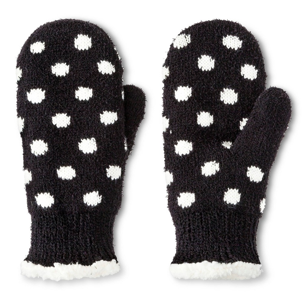 Impressions By Isotoner Women's Polkadot Mittens - Black, Women's, Size: Small was $19.99 now $9.98 (50.0% off)