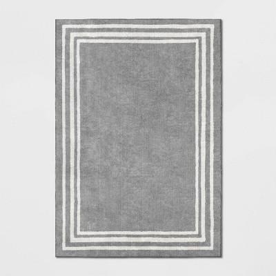 7'X10' Tetra Border Rug Gray/Ivory - Threshold™