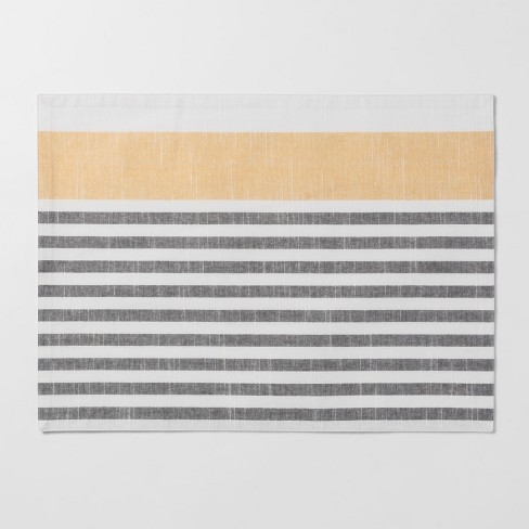 "19""x14"" Stripe Placemat Gray/Yellow - Threshold™ - image 1 of 1"