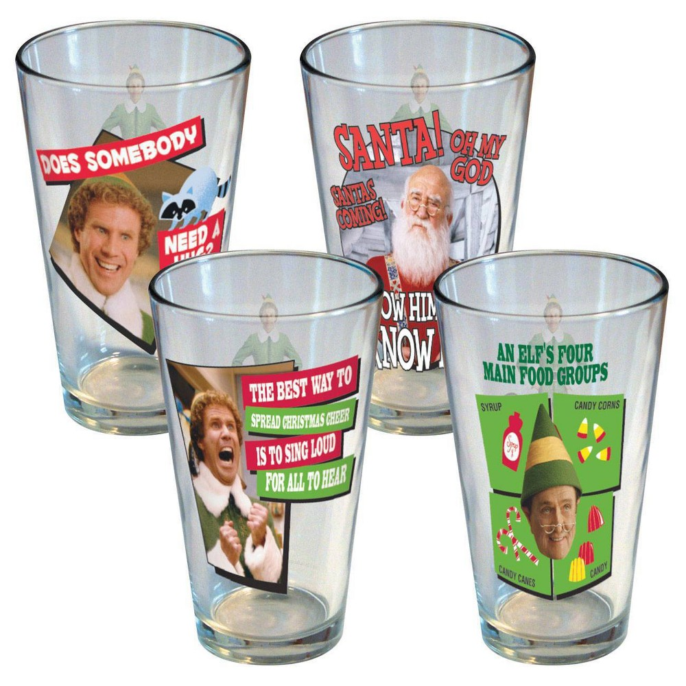 Image of Elf 16oz 4pk Glass Quotes Pint Glasses