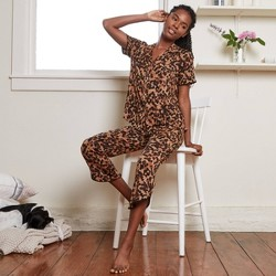 Women's Tortoise Print Beautifully Soft Short Sleeve Notch Collar Top and Crop Pajama Set -Stars Above™ Brown