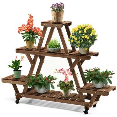 Costway Wooden Plant Stand w/Wheels Pots Holder Display Shelf 56.5'' x 11'' x 41''