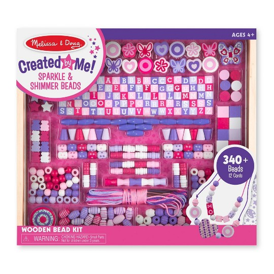 Melissa & Doug Deluxe Collection Wooden Bead Set With 340+ Beads for Jewelry-Making image number null