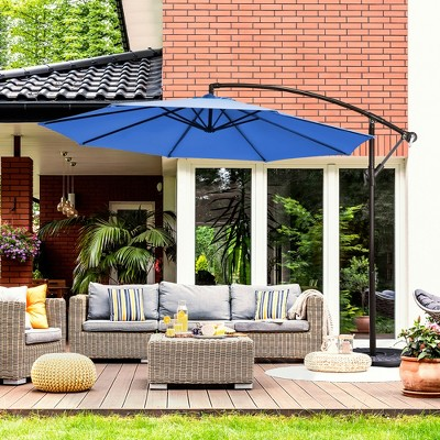 Costway 10FT Patio Offset Hanging Umbrella Easy Tilt Adjustment 8 Ribs Backyard Burgundy\Beige\Tan\Blue