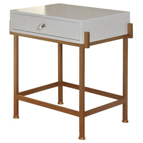 White Lacquered Side Table with Antique Gold Base White - Stylecraft - image 1 of 1