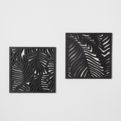 Carved Wood Palm Leaf 2pk Wall Décor Black - Opalhouse™