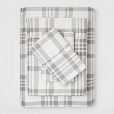 400 Thread Count Queen Performance Sheet Set Plaid Twill Gray - Threshold™