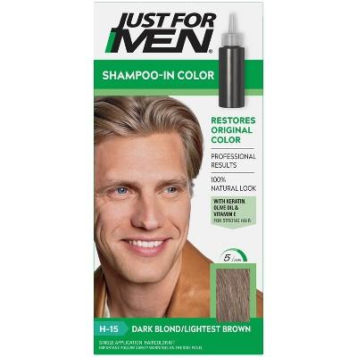 Just For Men Shampoo-In Color Gray Hair Coloring for Men - Dark Blonde/Lightest Brown H15